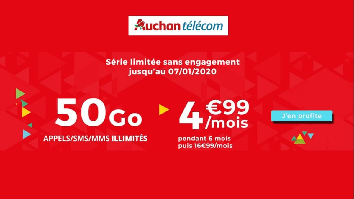Auchan Telecom et son forfait 50 Go à 4,99€ par mois jusqu'au 07 janvier.