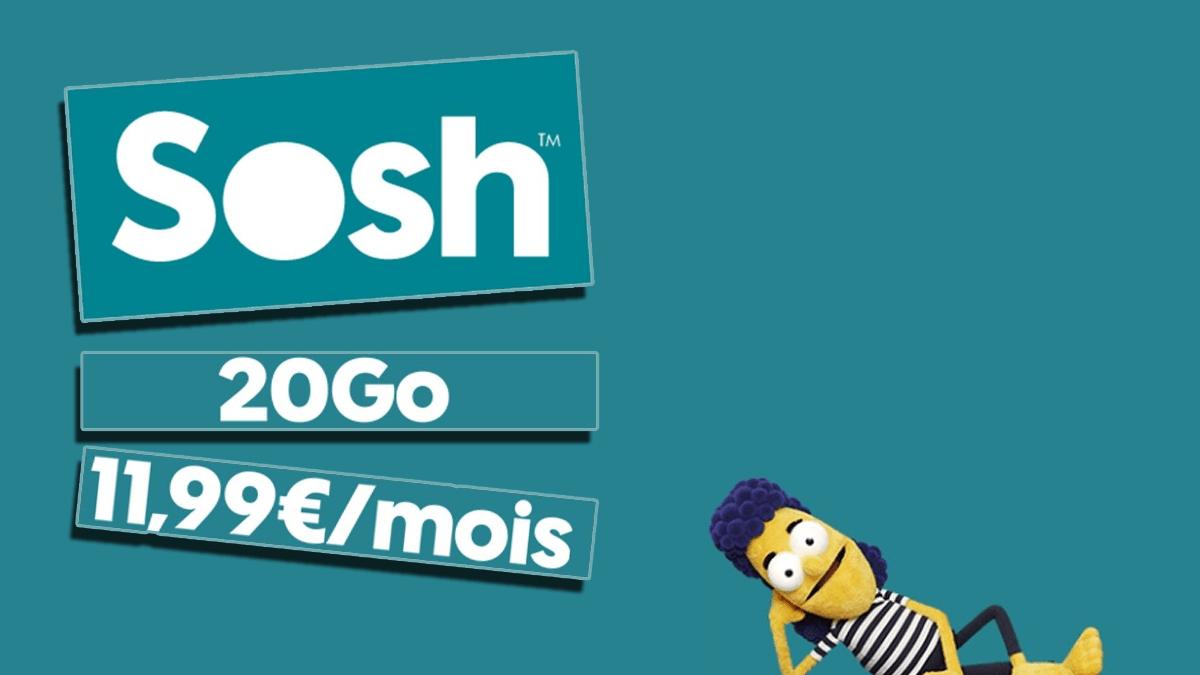 Sosh et son forfait sans engagement à 11,99€ permet de disposer de 20 Go aussi bien en France qu'en Europe.