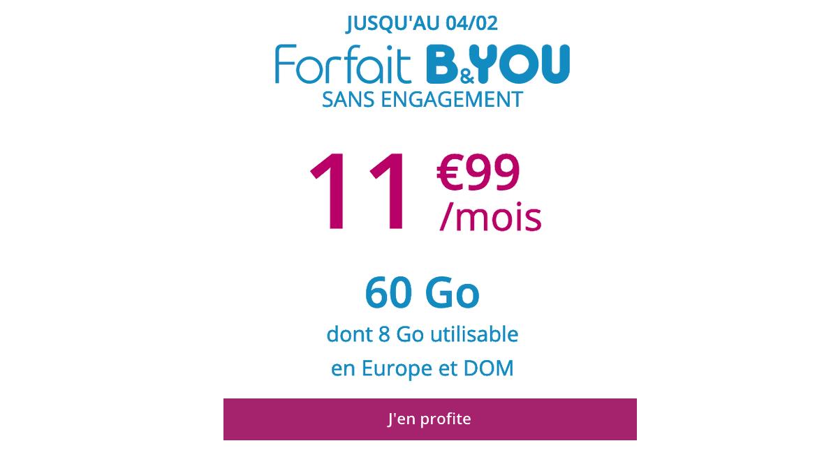 B&YOU propose un forfait avec un gros volume de data pour moins de 12€/mois