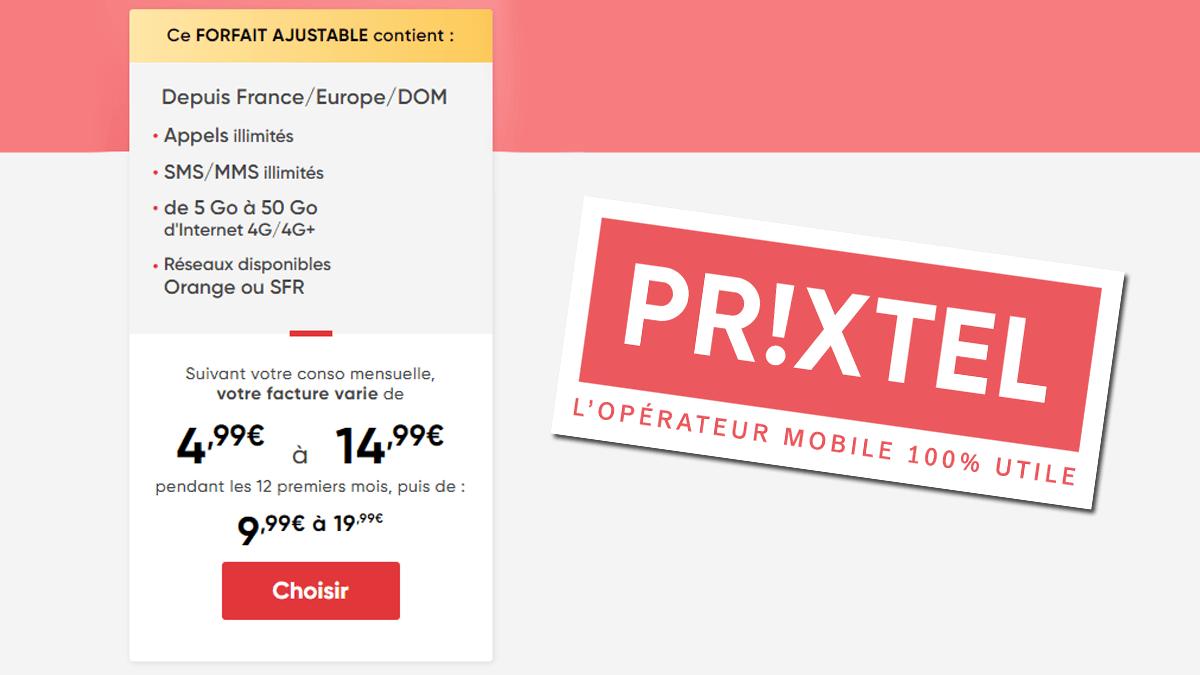 Un forfait ajustable évolutif chez Prixtel pour payer de 4,99€ à 14,99€/mois selon ses besoins.