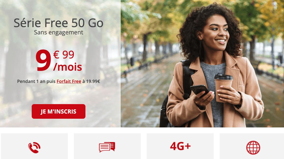 Les promos sur les forfaits 4G avec l'offre Free mobile 50 Go.