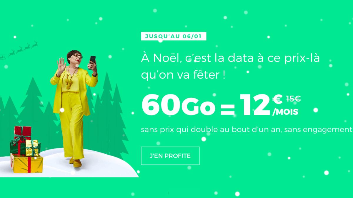 Chez RED by SFR, le forfait 60 Go sans engagement est à 12€ seulement.