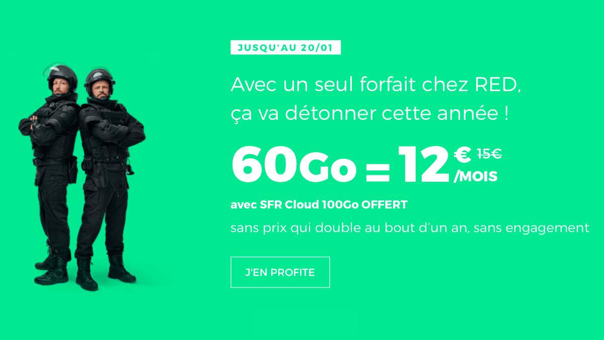 Forfait sans engagement RED by SFR à 12€ par mois seulement.