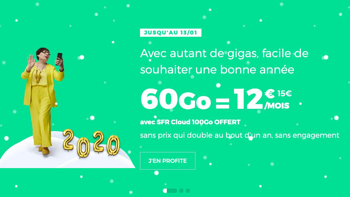 RED by SFR propose un forfait 60 Go sans engagement à seulement 12€ par mois pour toute nouvelle souscription en janvier.