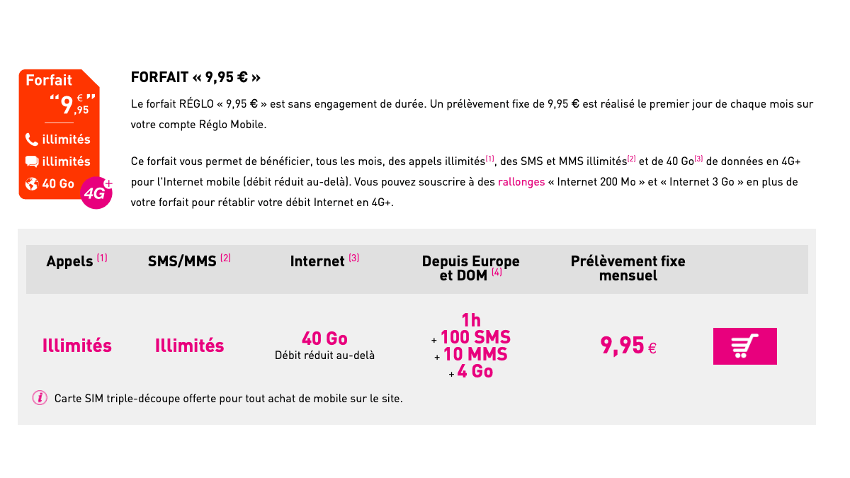 Réglo Mobile propose un forfait pas cher à 40 Go.