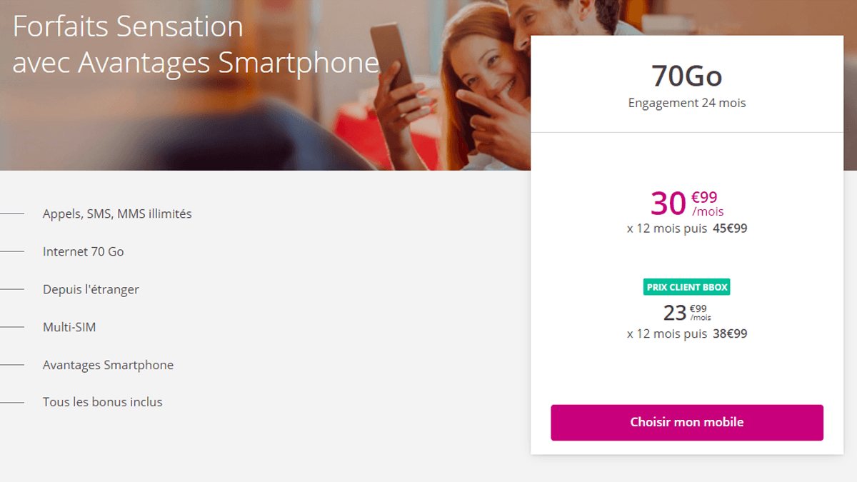 Bouygues Telecom propose des forfaits Sensation comme le 70 Go, disponibles avec de nombreuses options.