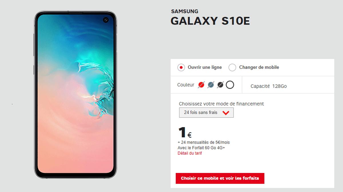 Le Samsung Galaxy S10e en promo avec SFR.