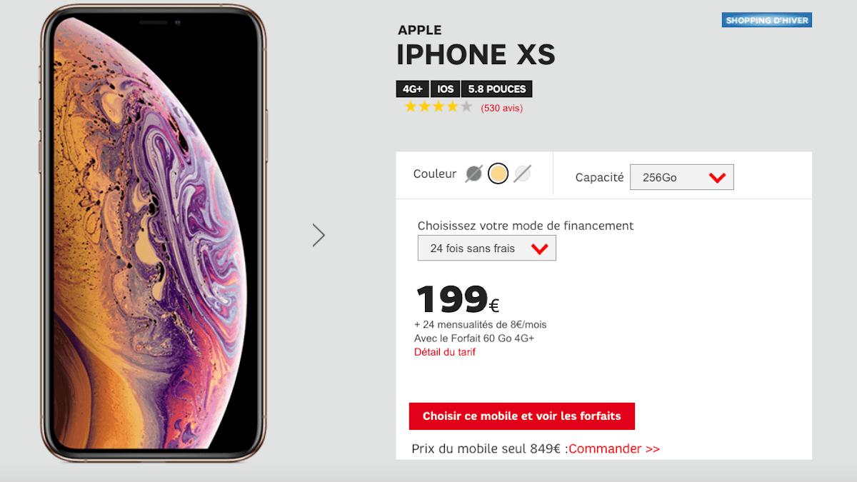 iPhone XS en promo avec SFR