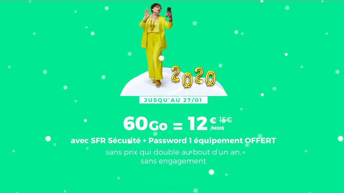 Pour aller avec le smartphone pas cher, le forfait 60 Go à 12€ est en promotion.