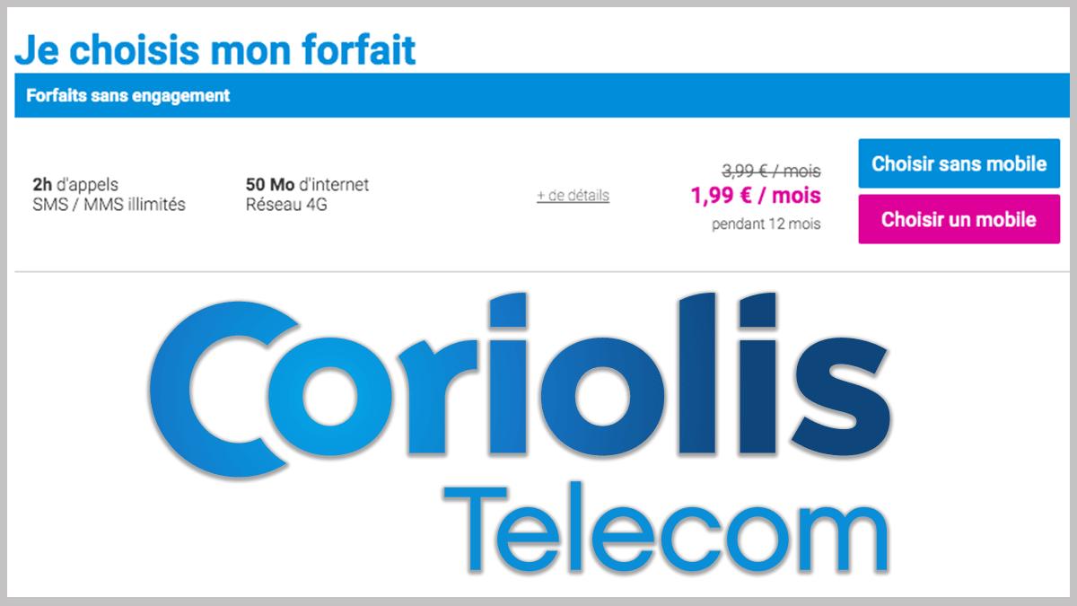 Des forfaits mobiles à partir de 2€ avec Coriolis.