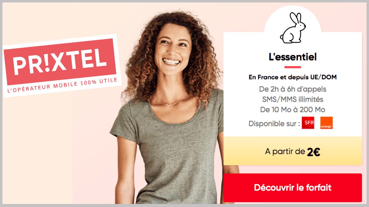 Forfaits mobiles Prixtel à partir de 2€.