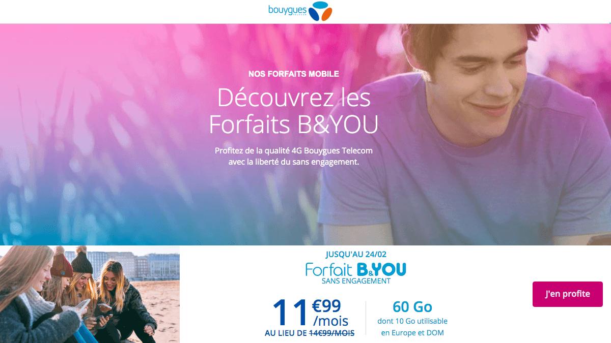 B&You propose un forfait mobile 60 Go sans engagement.