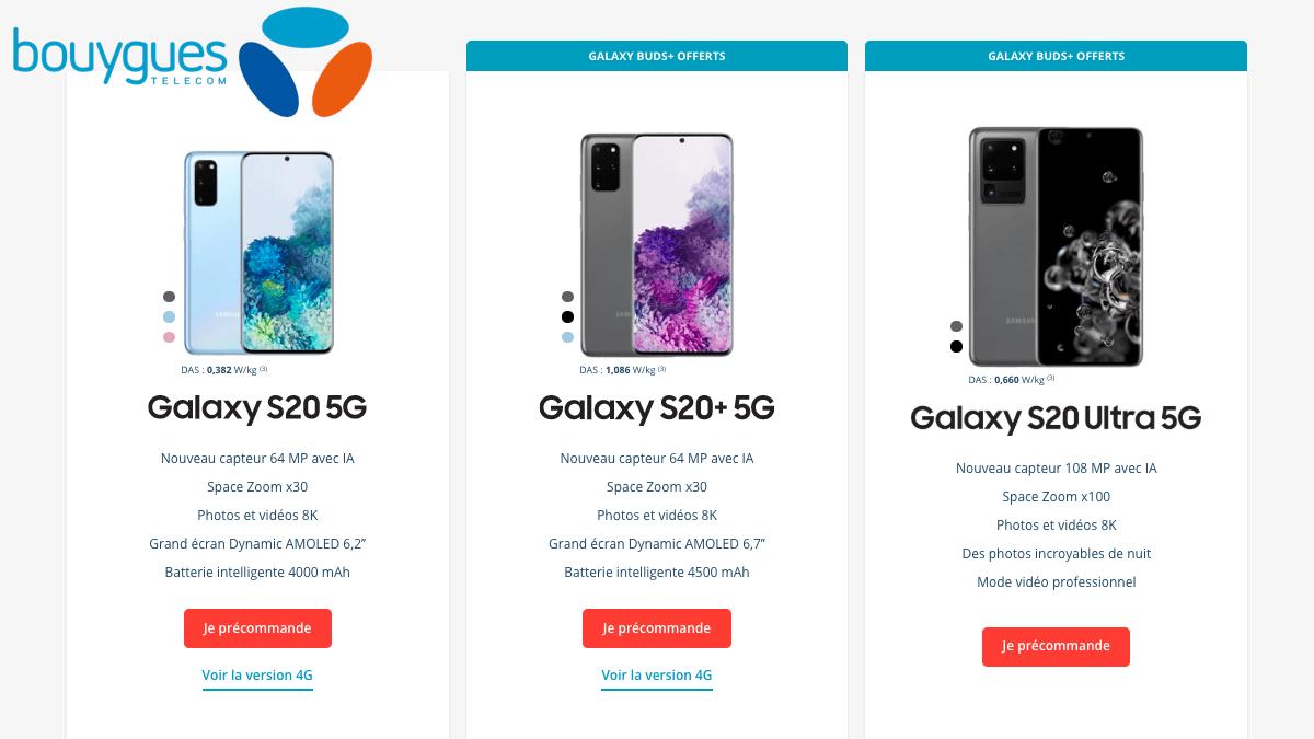 Bouygues Telecom fait une offre subventionnée sur le Galaxy S20.