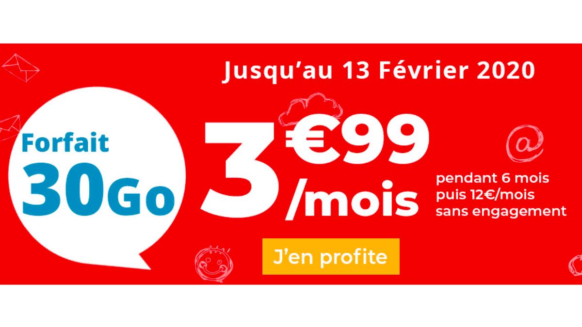 Chez Auchan Telecom, les 30 Go sont à 3,99€ par mois.