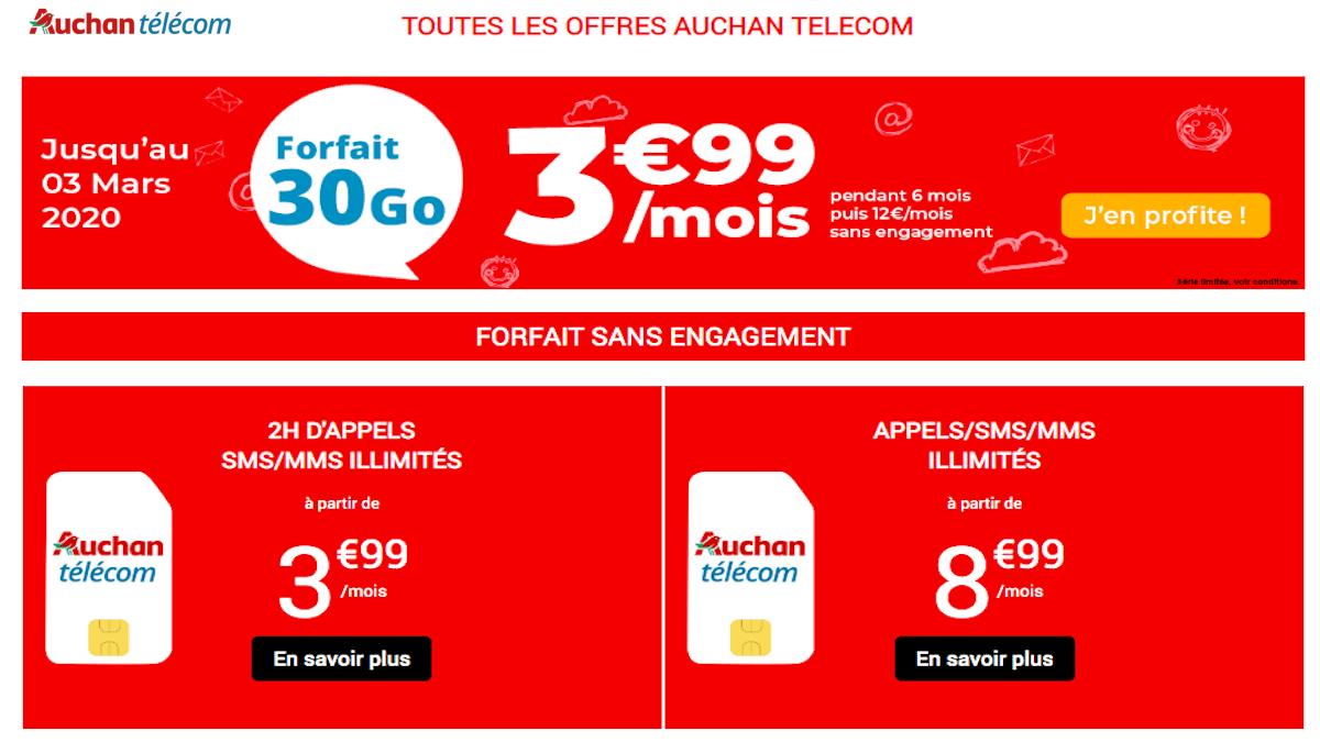 Prix exceptionnel de 3,99€ sur le forfait 30 Go d'Auchan Telecom