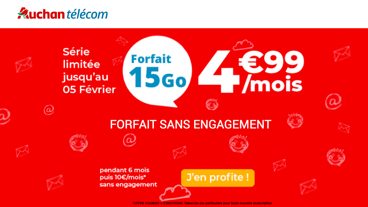 Auchan Telecom propose un forfait sans engagement pas cher.