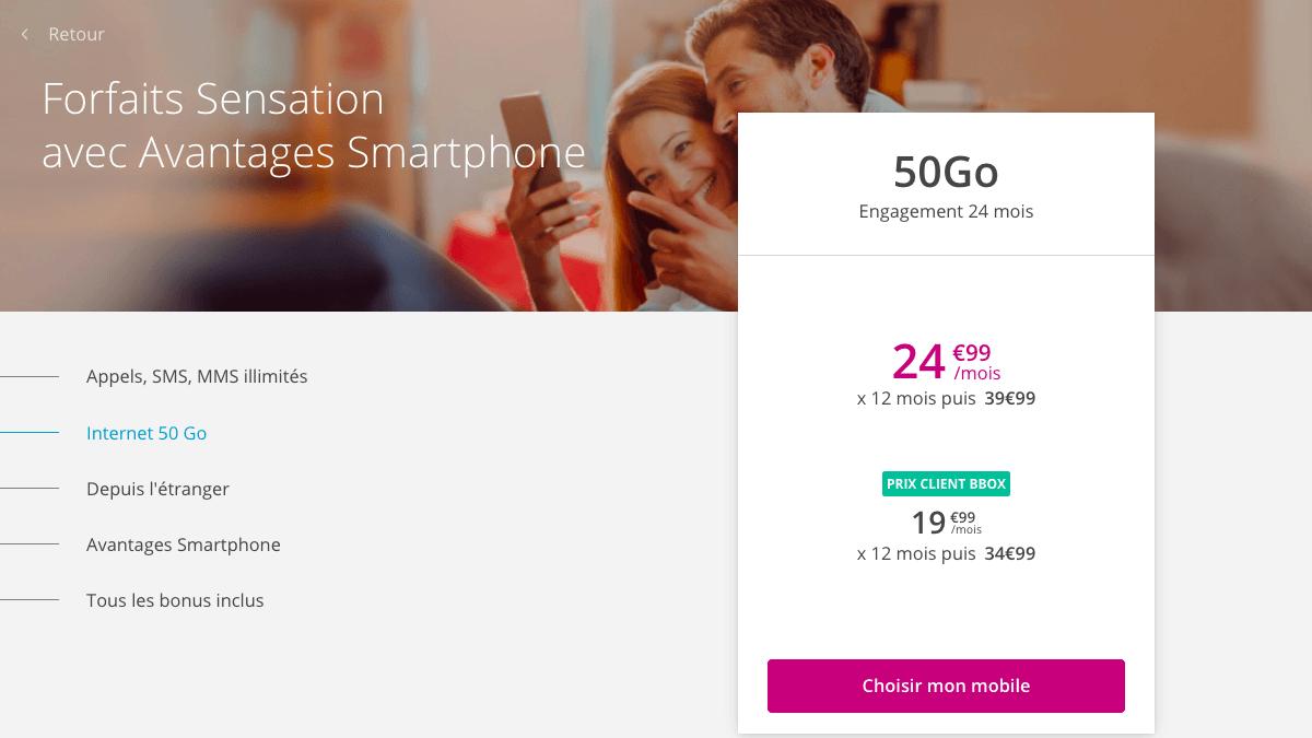 Bouygues Telecom promo Sensation 50 Go.