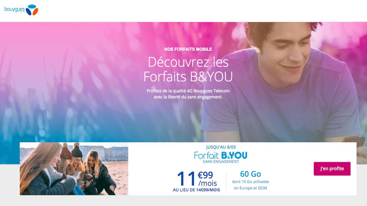Le forfait mobile en promo de B&You