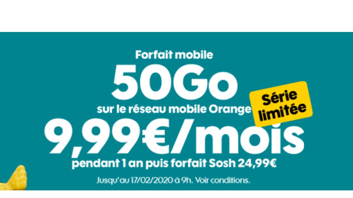 Sosh propose un forfait à 10€/mois, puis 24,99€/mois