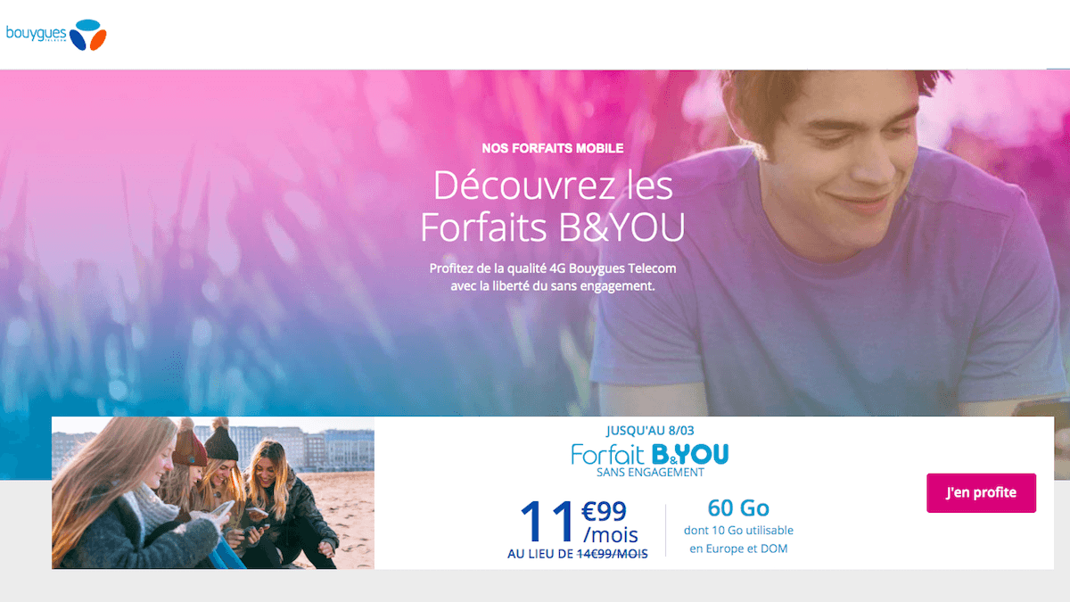 B&You fait une promo sur son forfait mobile sans engagement à 11,99€.