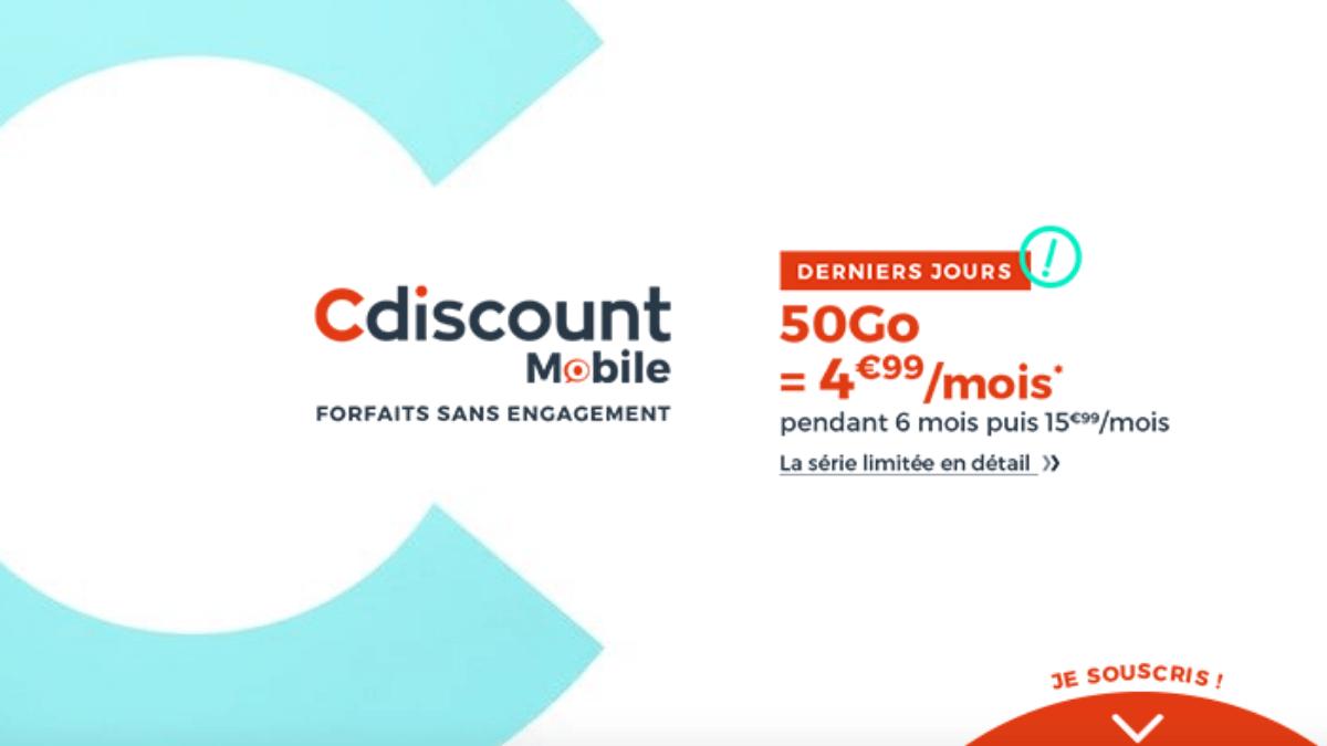 Le forfait pas cher de Cdiscount Mobile est en promo
