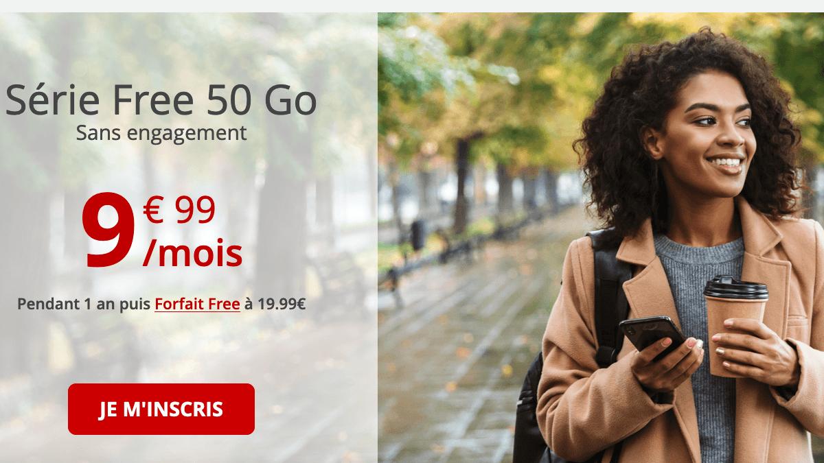 Free Mobile affiche un forfait en promo de 50 Go à moins de 10€/mois