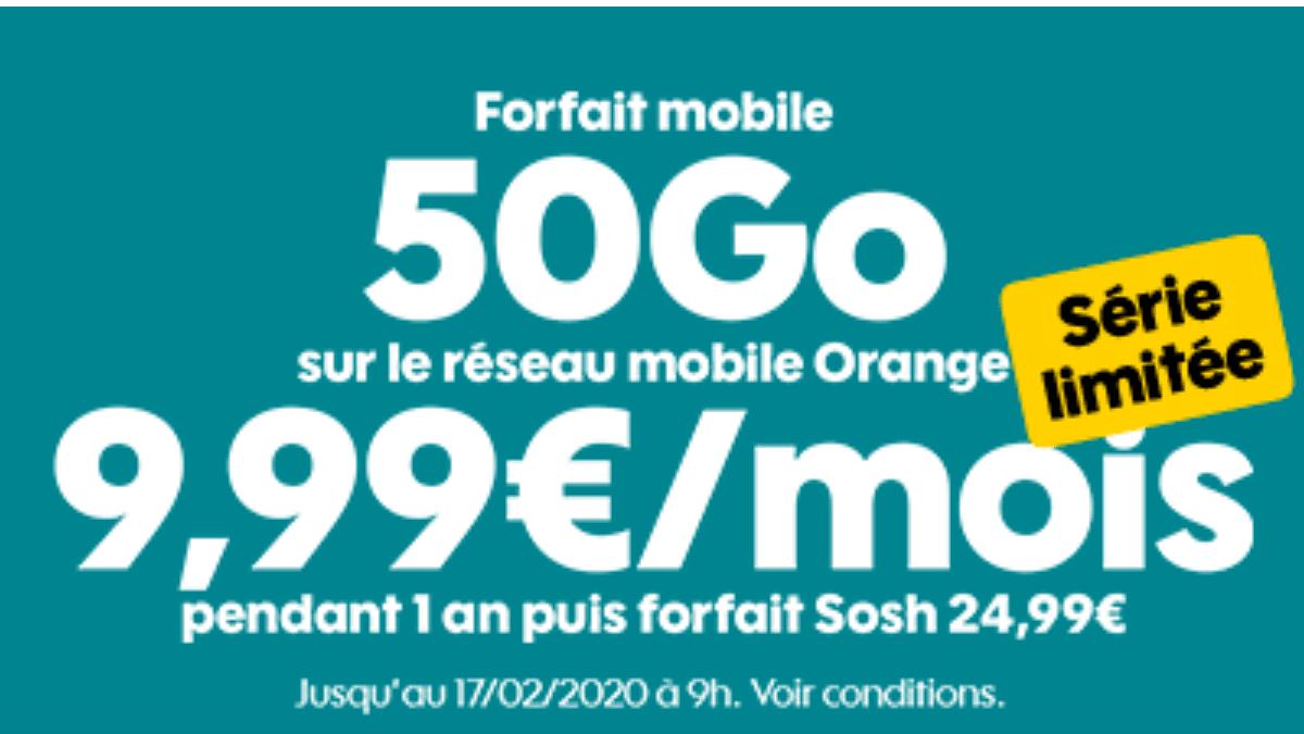 Le forfait en promo de Sosh inclut 50 Go de data