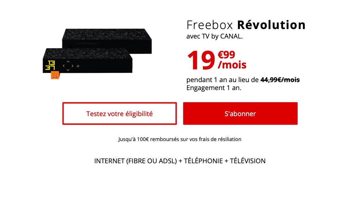 La Freebox Révolution est en promotion pendant un an.