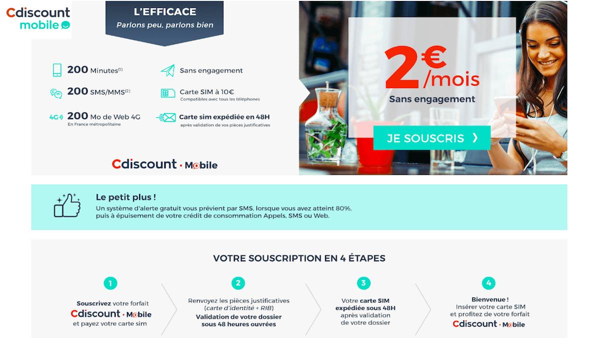 Le forfait mobile à 2€ de cdiscount mobile