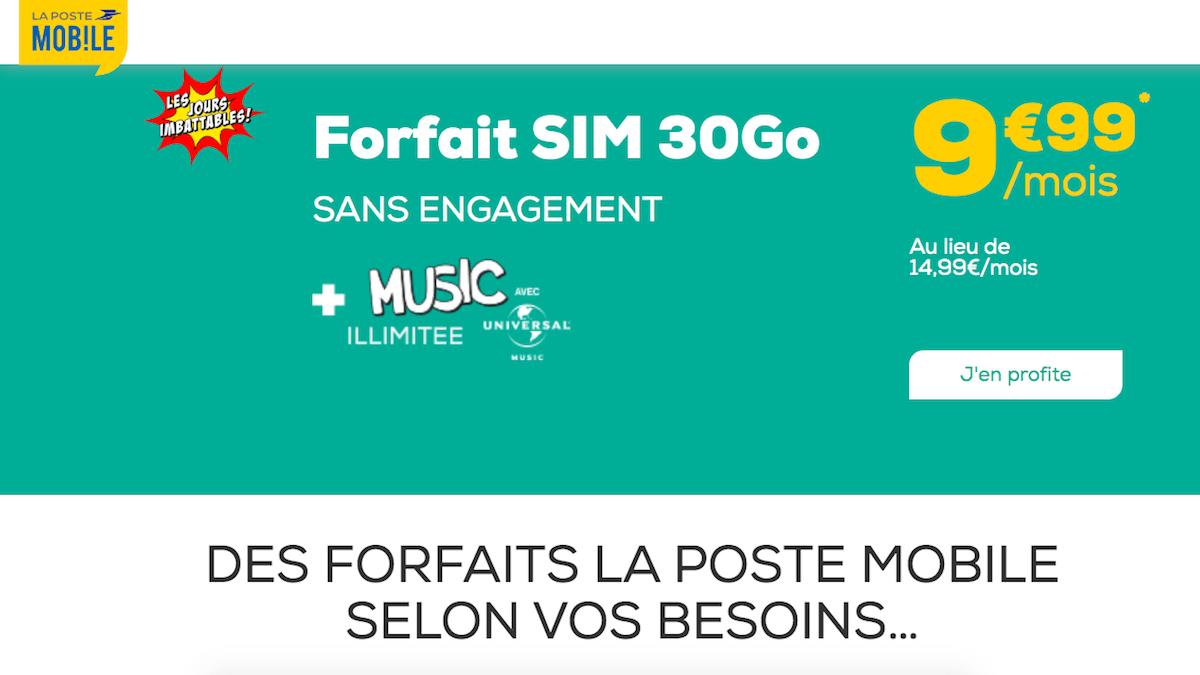 Le forfait mobile à 30 Go en promo chez La Poste Mobile