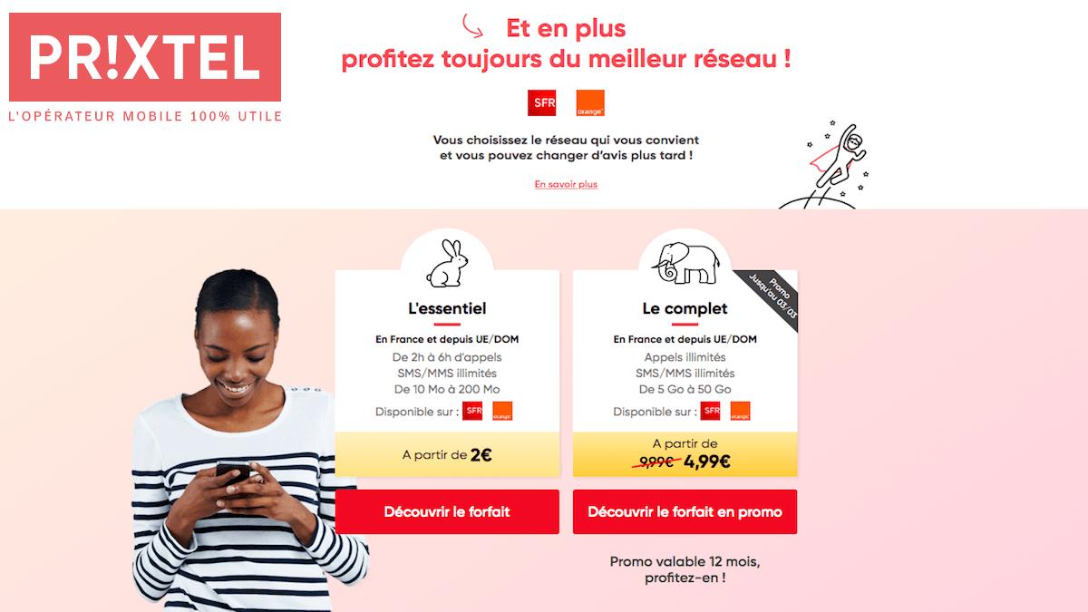 Le forfait mobile à partir de 2 euros de Prixtel