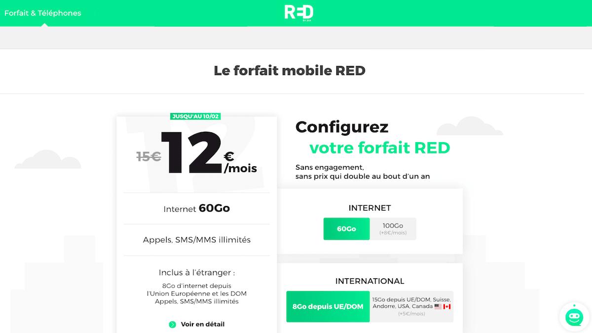 RED by SFR vend son forfait mobile à 12€.