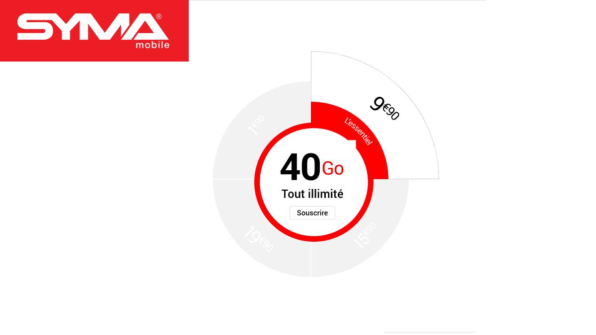 Syma propose un forfait mobile à 9,90 mensuels pour 40 Go.
