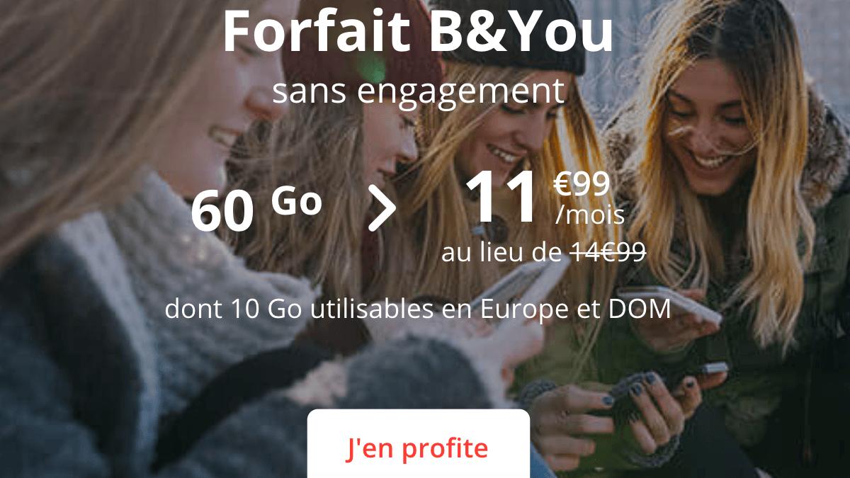 Le bon plan de B&YOU pour un forfait 60 Go en promotion