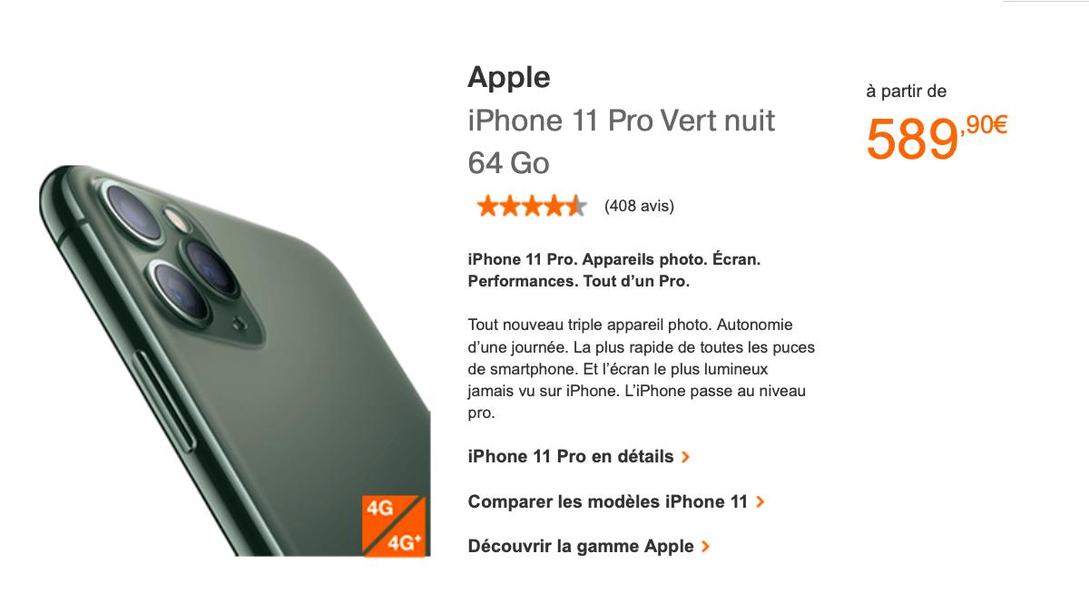 L'iPhone 11 Pro est disponible dès 799€ chez Orange.