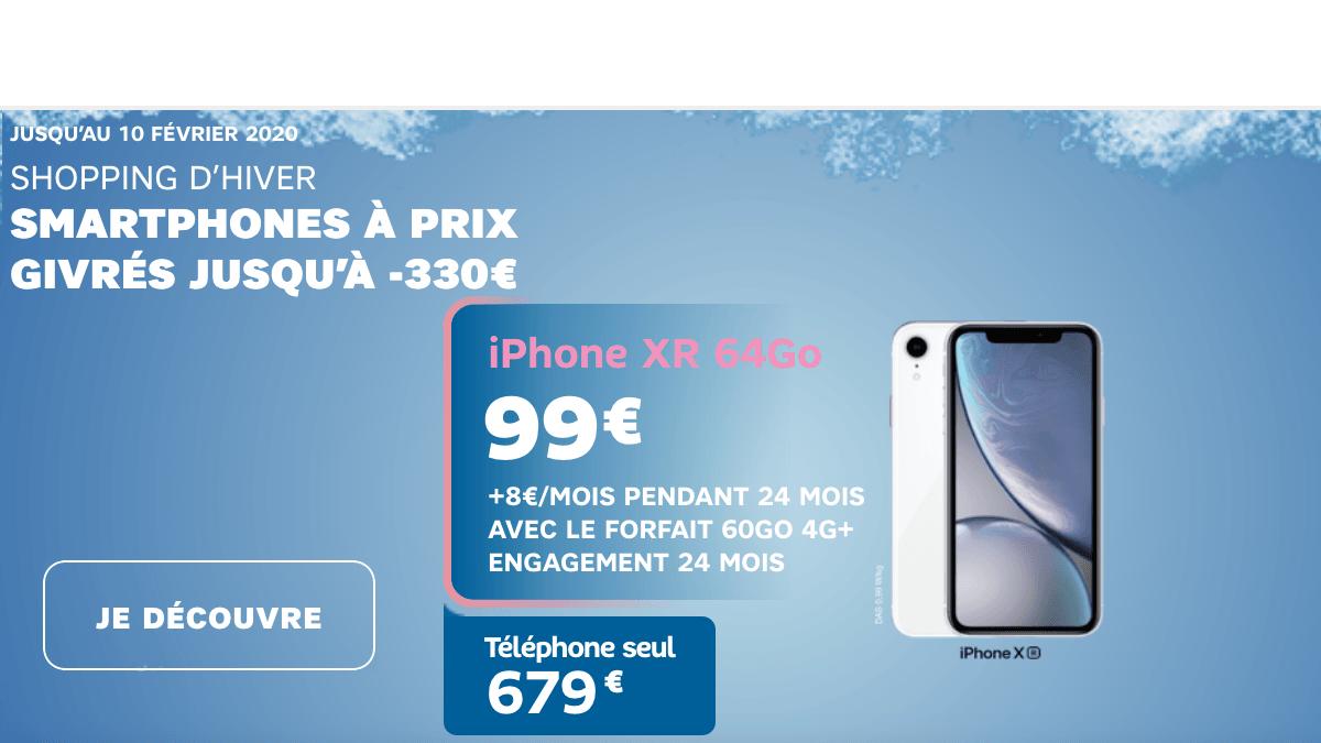 L'iPhone XR à bas prix avec un forfait 60 Go SFR