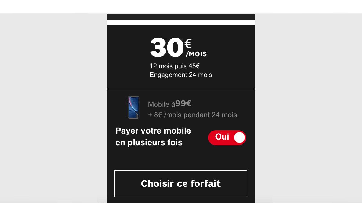 Le forfait 60 Go de SFR avec iPhone XR