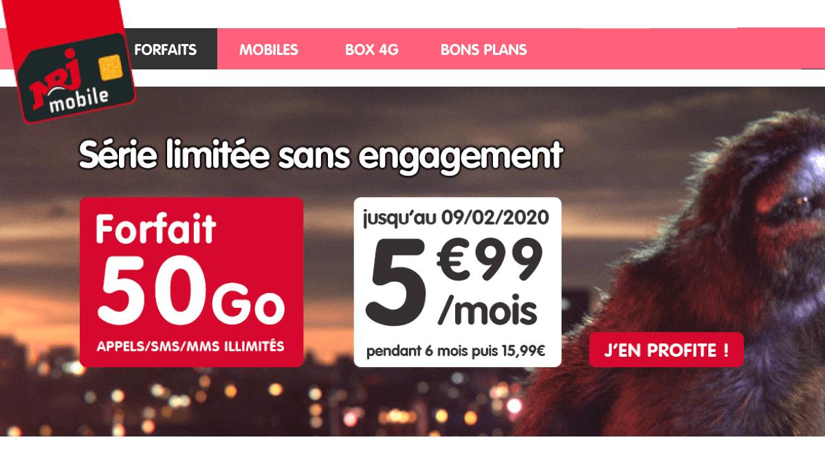 NRJ Mobile réalise une importante promotion sur son forfait à 50 Go.