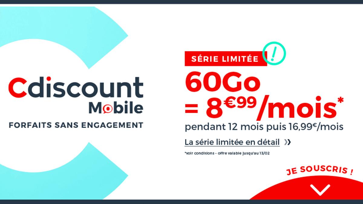 Forfait 4G Cdiscount Mobile en promotion.