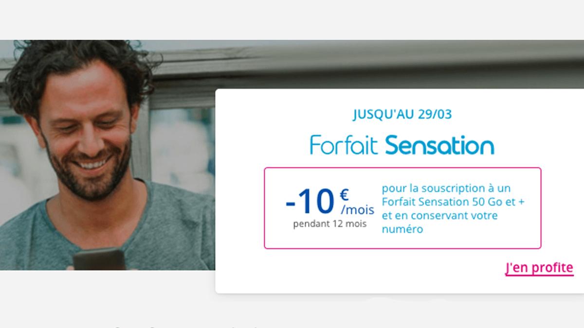 50, 70 ou 100 Go avec les forfaits Sensation en promo.