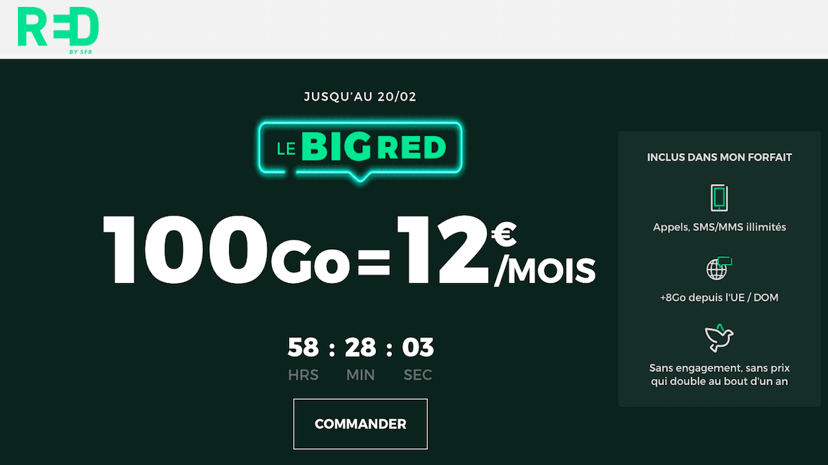 RED by SFR propose son forfait mobile 100 Go à 12€.