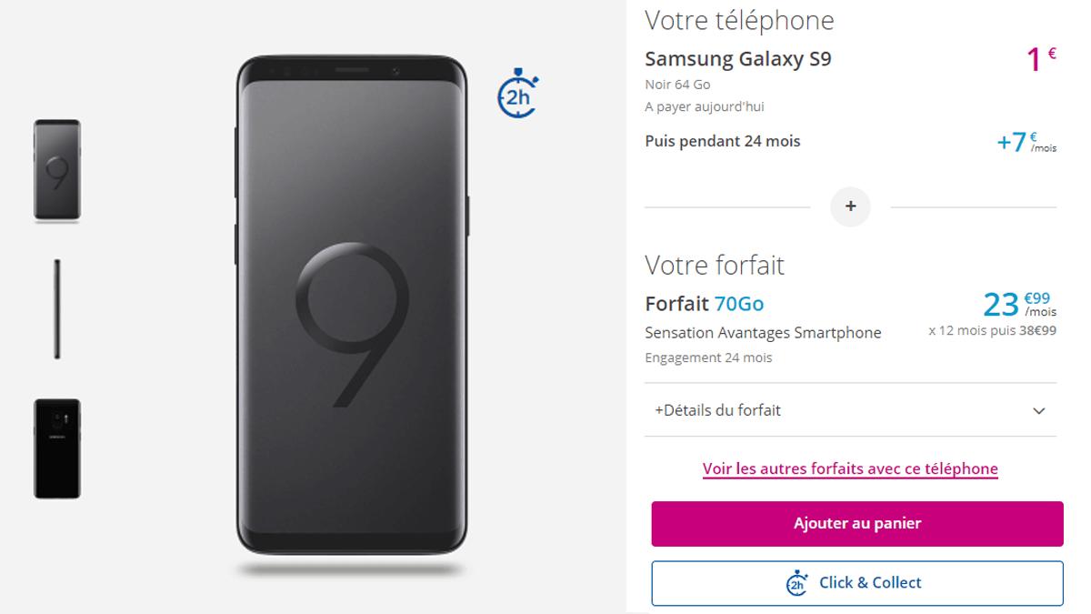 Samsung Galaxy S9 à partir de 1€ avec Bouygues.