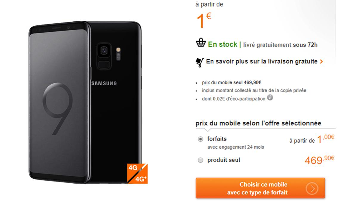Samsung Galaxy S9 et 50 Go avec Orange.