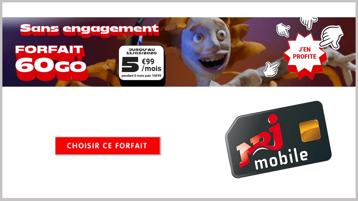 Moins de 6€/mois avec NRJ Mobile.