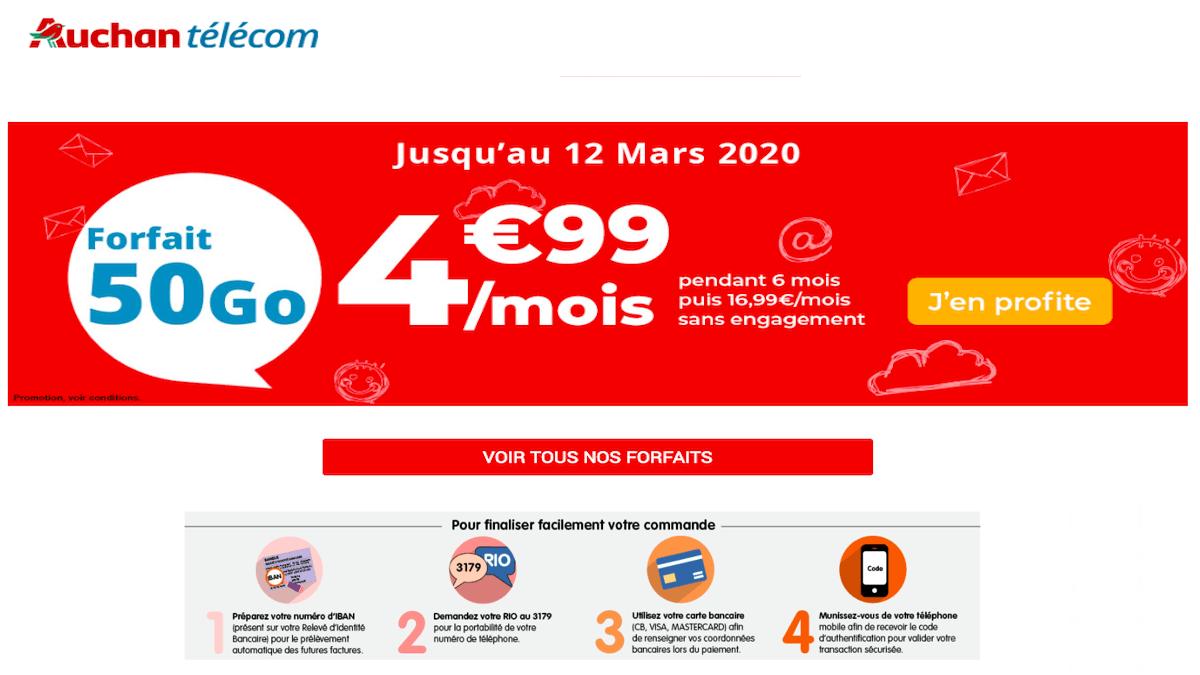 Forfait mobile 4G sans engagement Auchan Telecom