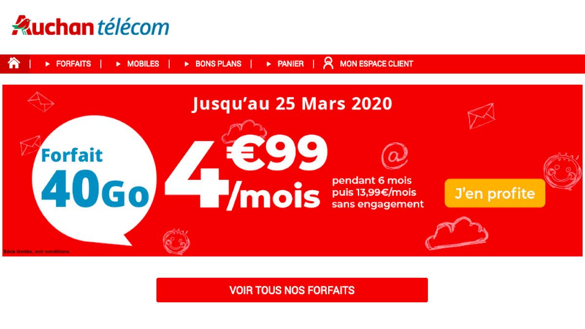 Forfait mobile pas cher Auchan Telecom