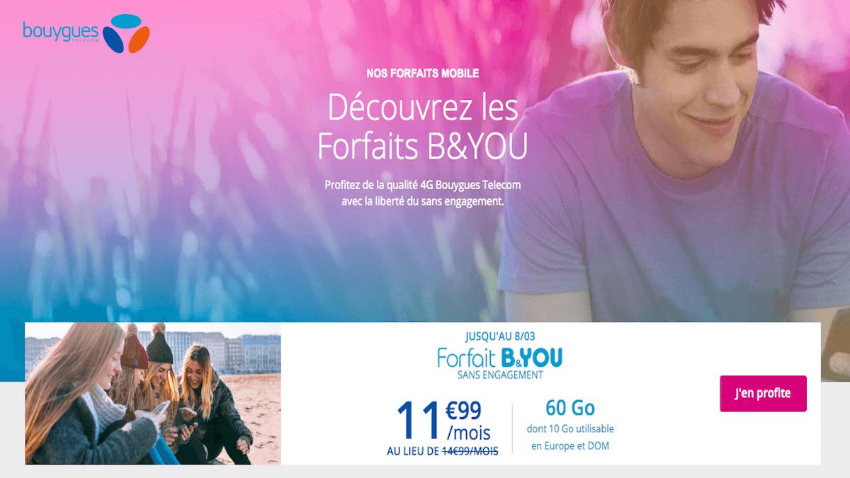 le forfait mobile 60 Go au prix exceptionnel de 11,99€/mois chez B&You