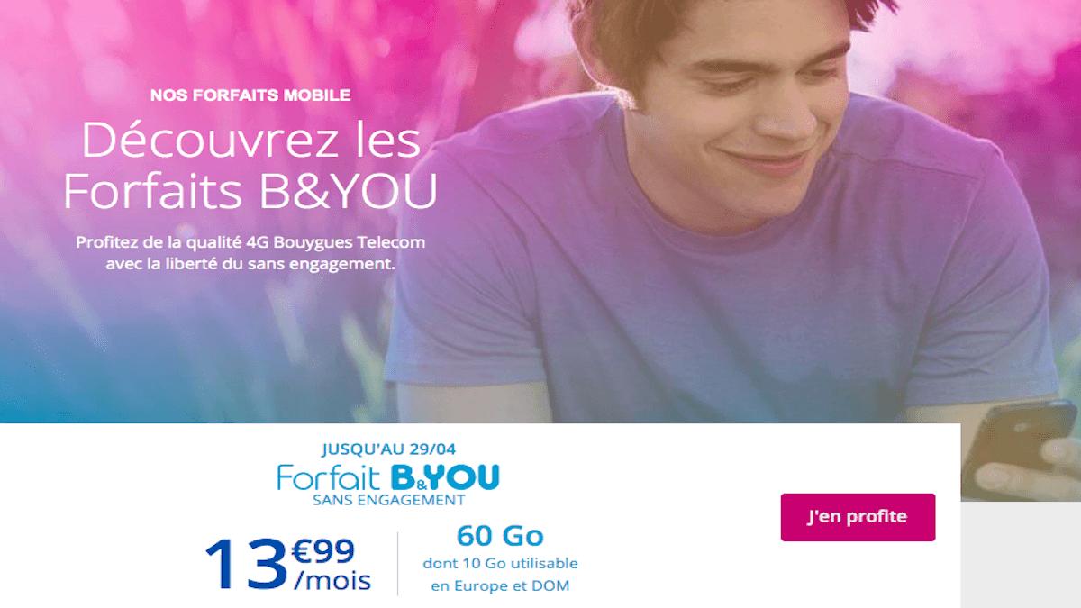 Le forfait sans engagement 60 Go de B&YOU