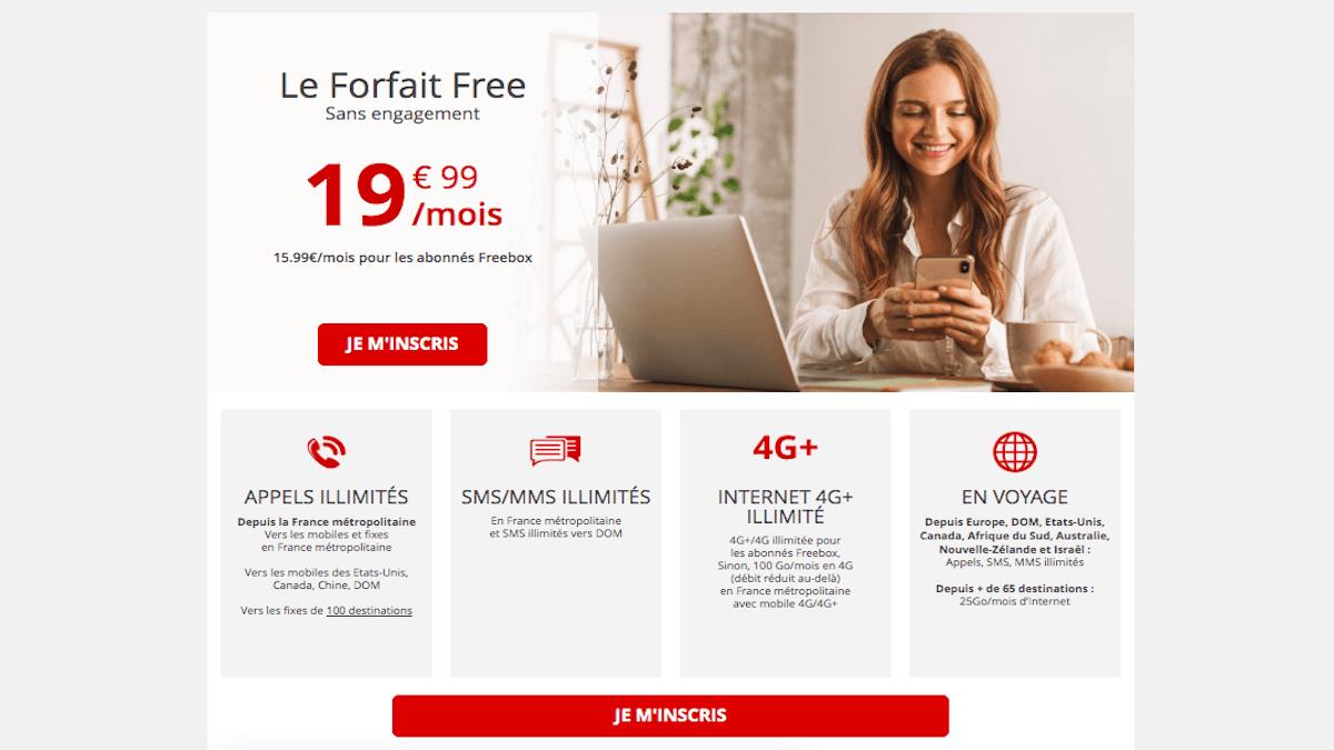 Le Forfait Free, une offre 100 Go et disponible sans engagement.