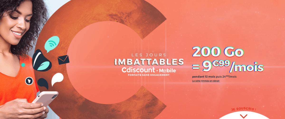 Promotion de Cdiscount Mobile sur un forfait 200 Go